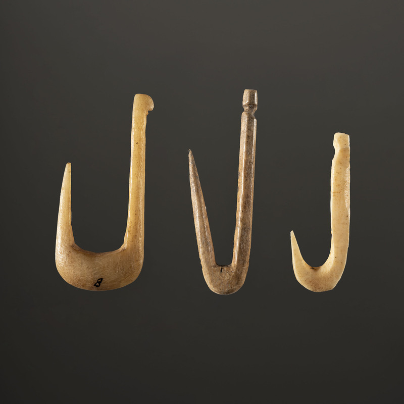 A Group of Three Bone Fish Hooks, Largest 1-1/4 in.