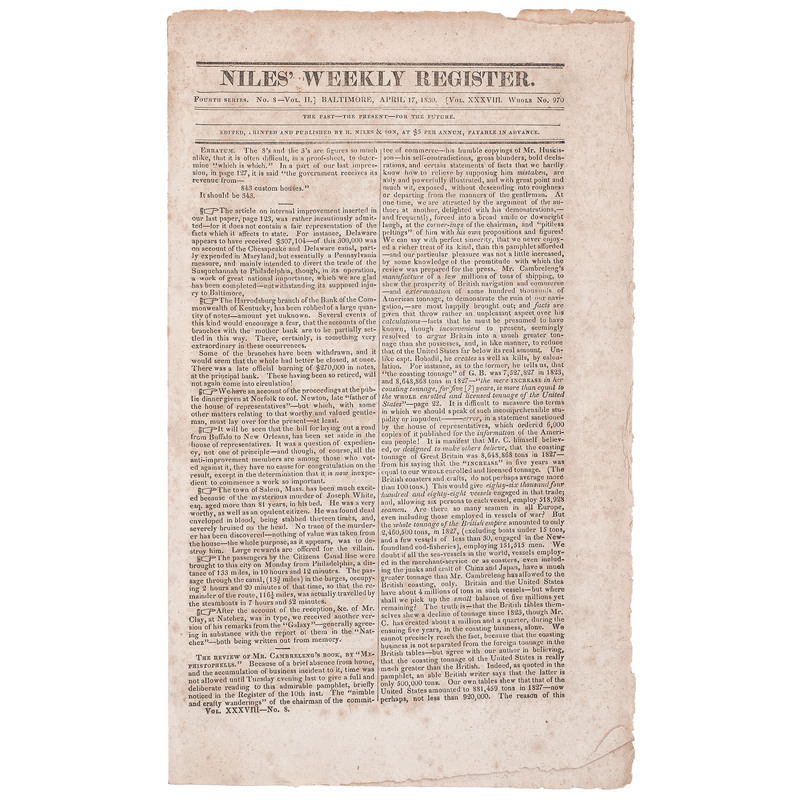 [AFRICAN AMERICANA -- SLAVERY & ABOLITION] Niles' Weekly Register. Vol. XXXVIII, No. 970. Baltimore, MD: H. Niles & Son, 17 April 1830.