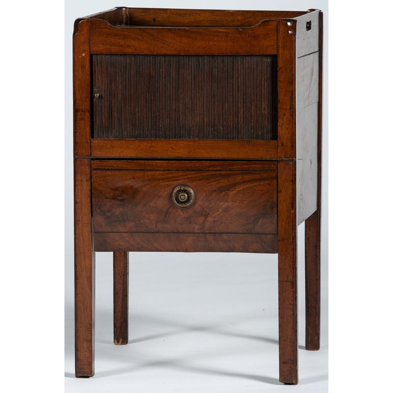 A Regency Mahogany Tambour-Decorated Pot Cupboard