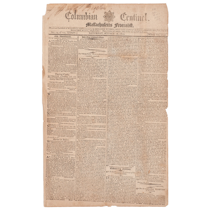 [SLAVERY & ABOLITION]. Enslaved blacksmith Gabriel Prosser's capture, trial, and sentence covered in 2 issues of the Columbian Centinel. Vol. XXXIV, Nos. 11 and 14. Boston: Benjamin Russell, 8 and 18 October 1800.