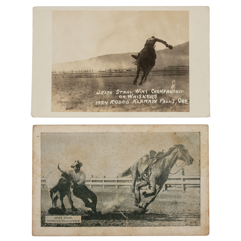 [AFRICAN AMERICANA -- RODEOS & WILD WEST SHOWS]. STAHL, Jesse (ca 1879-1935). Two postcards, incl. RPPC