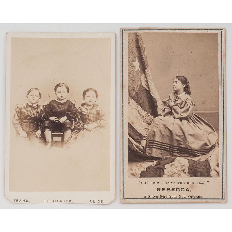 [SLAVERY & ABOLITION] -- [CIVIL WAR]. Two CDVs of children, incl.