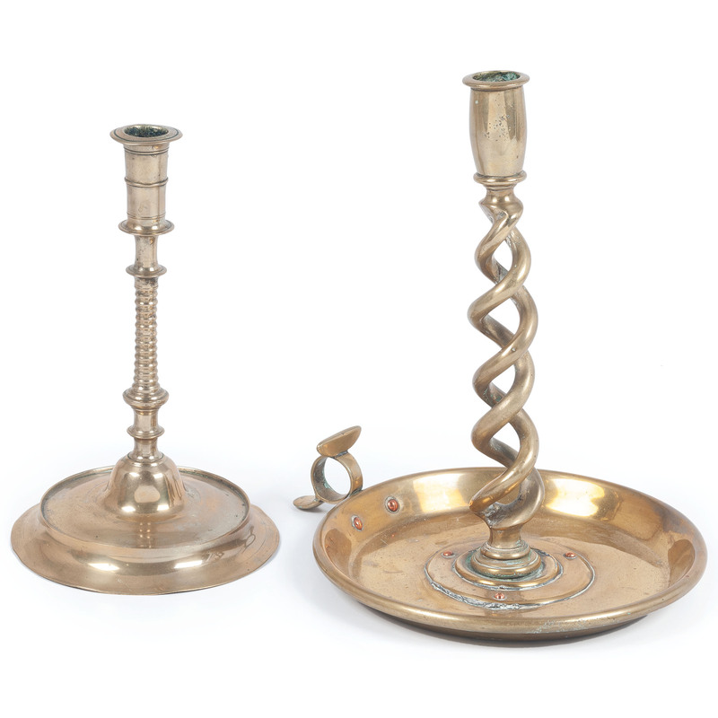 Two Continental Brass Candle Sticks