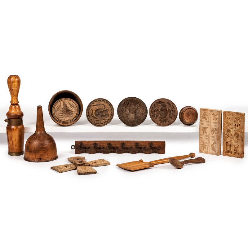 Nine Carved Wooden Molds and Other Kitchen Articles