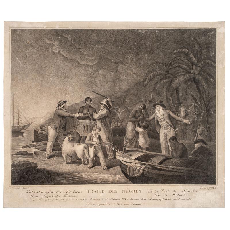 "[SLAVERY & ABOLITION]. ROLLET, ""Citoyenne,"" engraver, after John Raphael Smith, after George Morland. Traite Des Nêgres. Paris: Francois Depeuille, ca 1794-1795."