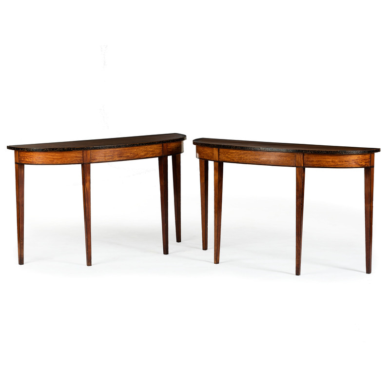 A Pair of Edwardian Mahogany and Satinwood Paint Decorated Demilune Tables