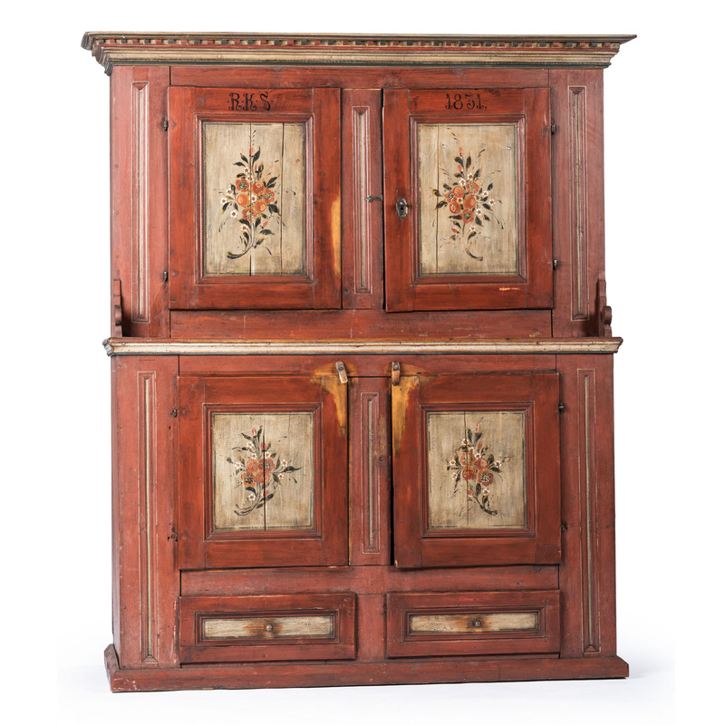 A Scandinavian Painted Pine Step-Back Cupboard, Dated 1831