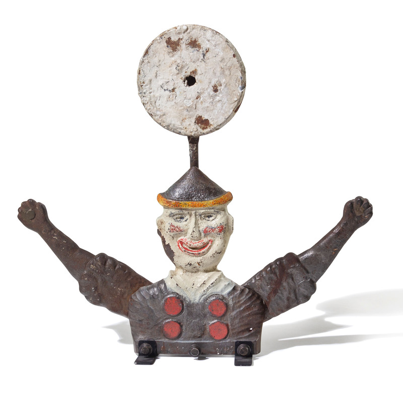 A William F. Mangels Painted Cast Iron Clown-Form Automaton Target, Coney Island, New York