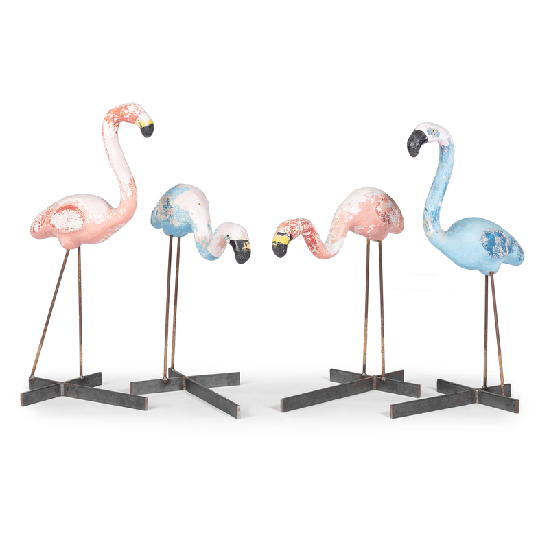 Four Cast Cement and Iron Pool Flamingos