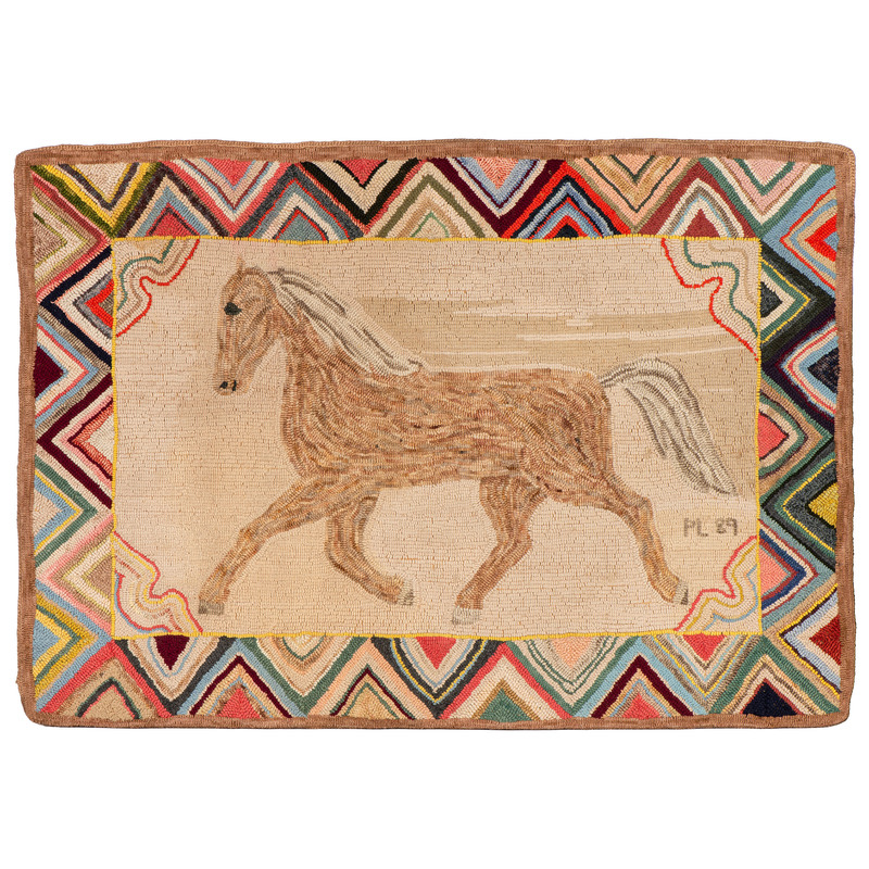 A Running Horse Hooked Rug