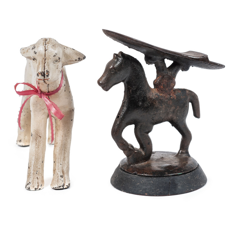 A Cast Iron Painted Lamb and Horse