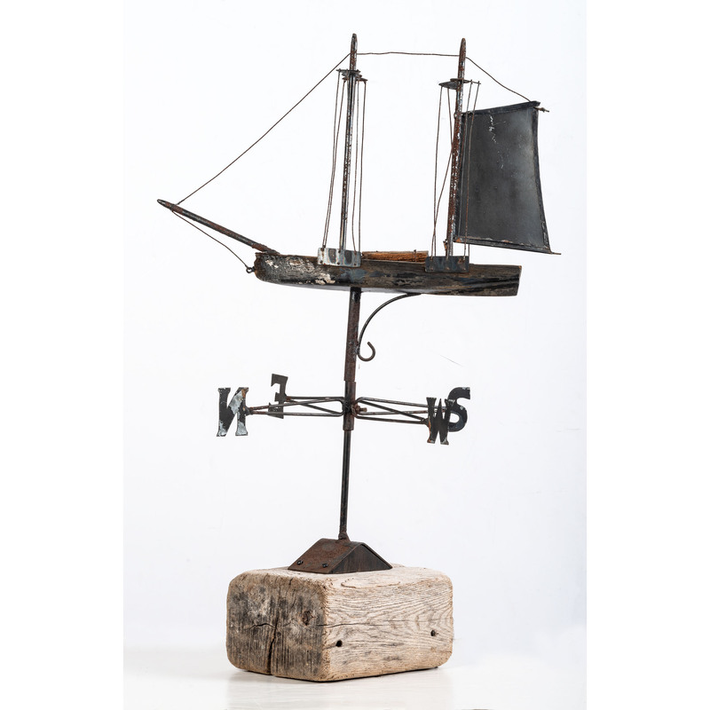An Assembled Metal and Wood Ship Weathervane
