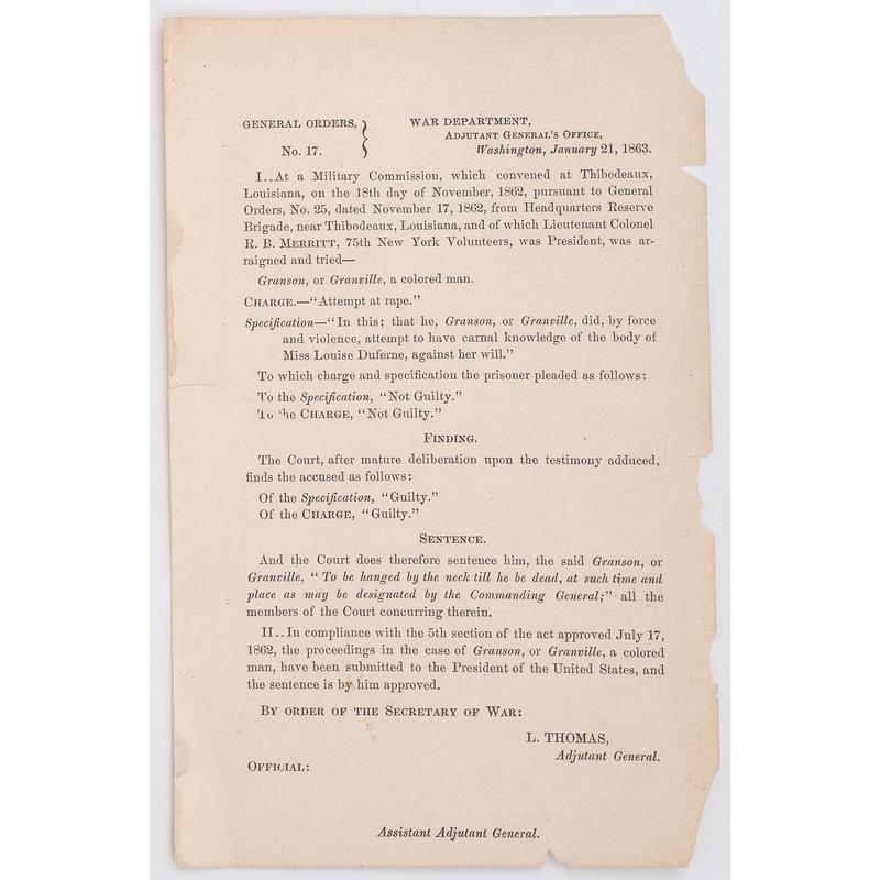 [CIVIL WAR] General Orders No. 17 sentencing a black man to death by hanging. War Department, Washington, DC, 21 January 1863