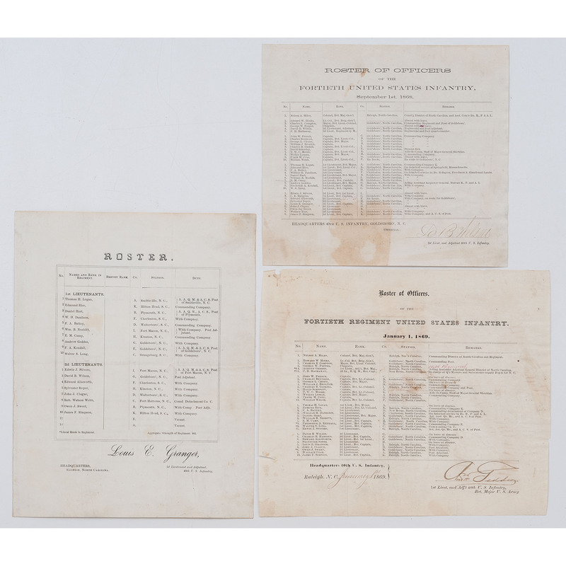 [US COLORED TROOPS] GEDDES, Andrew. Signed military roster for the 40th Infantry Regiment, USCT, 1869.