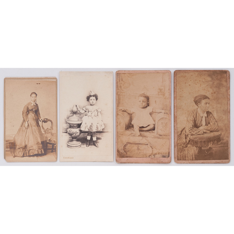 [EARLY PHOTOGRAPHY - PORTRAITURE]. A group of 4 CDVs of African American and mixed race female subjects by New Orleans photographers, comprising: