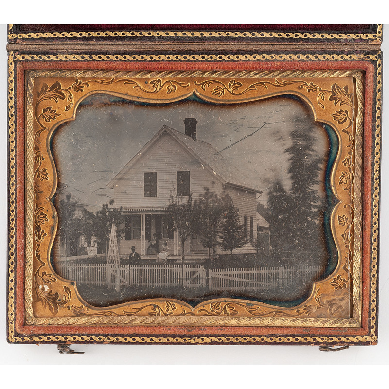 [DAGUERREOTYPE]. Quarter plate daguerreotype of a country home with subjects posed outside. N.p, n.d.