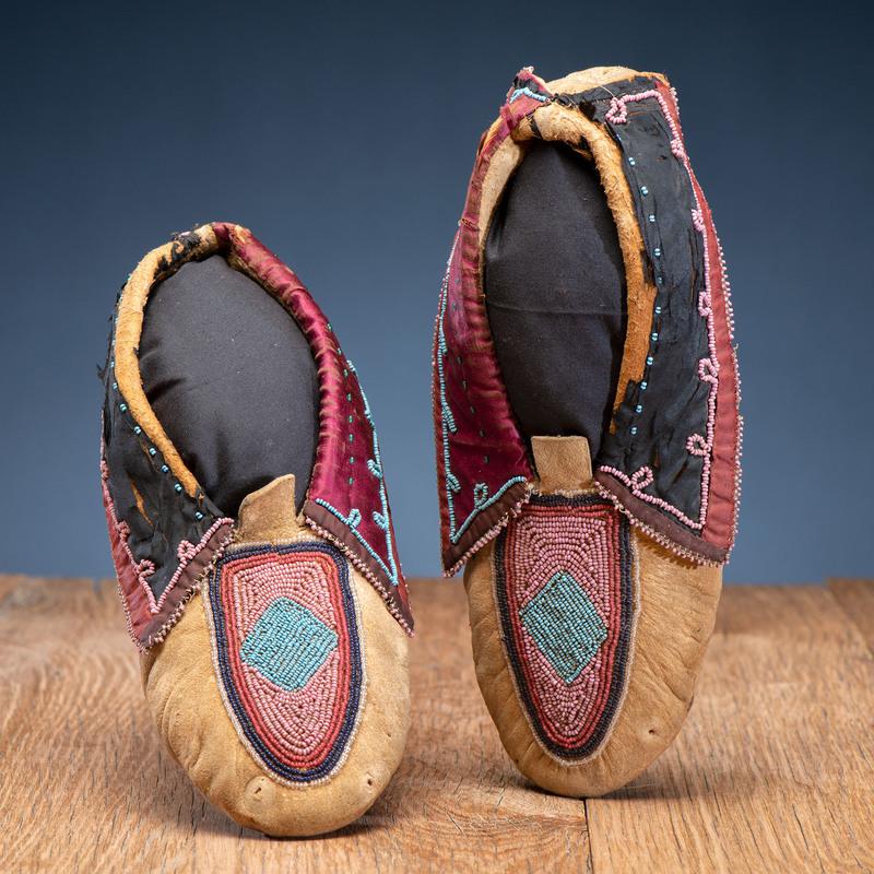 Lenape Beaded Hide Moccasins