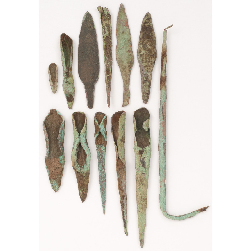 An Assortment of Old Copper Culture Tools and Points