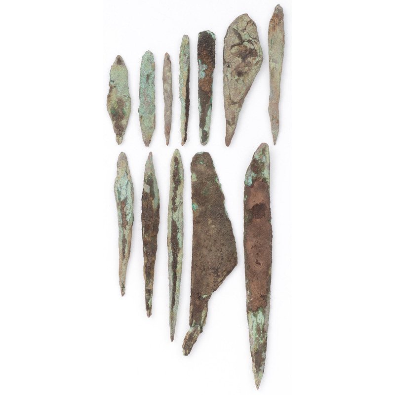 A Group of Old Copper Culture Awls and Knives