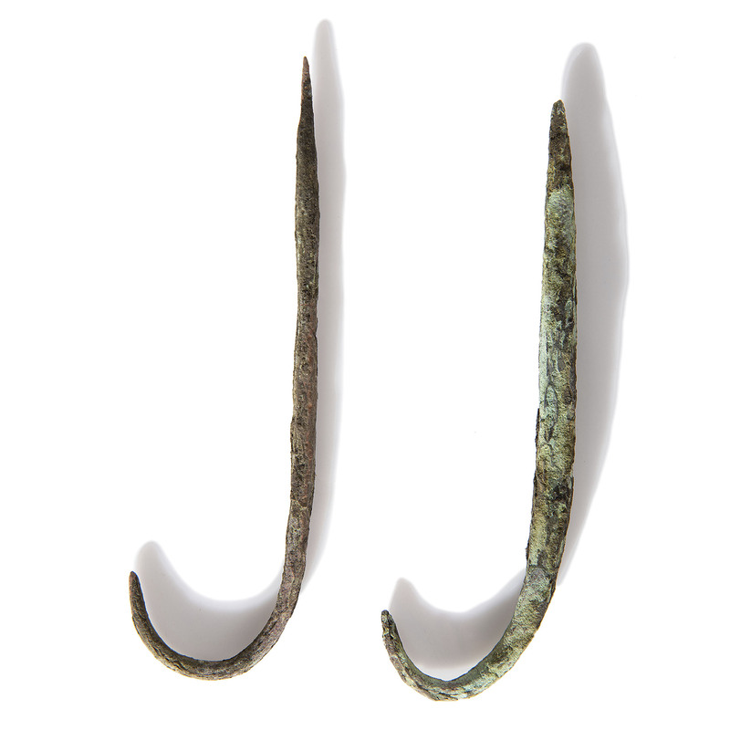 Large Old Copper Culture Fish Hooks