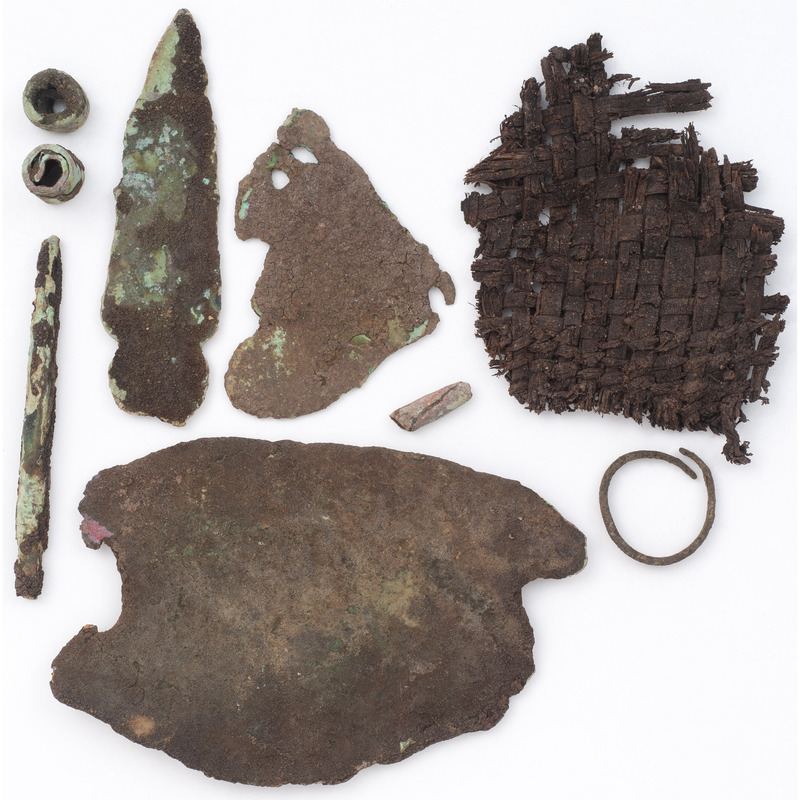 Old Copper Culture Tools, AND A Piece of Woven Fibers
