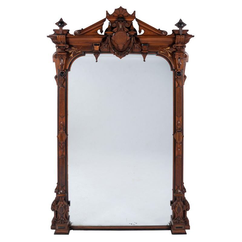 A Victorian Walnut Overmantel Mirror