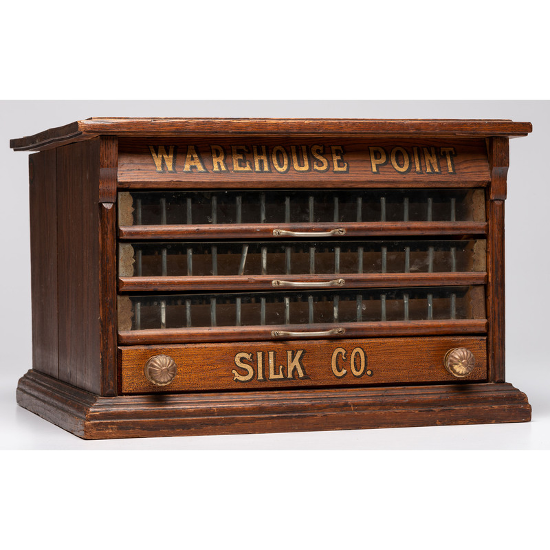 A Warehouse Point Stenciled Tabletop Spool Cabinet