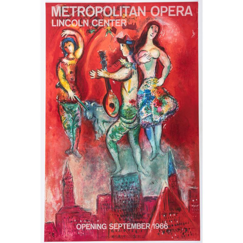 [FINE ART]. [CHAGALL, Mark (French, born in Russia, 1887-1985)]. Metropolitan Opera / Lincoln Center. Paris: Mourlot,1966.