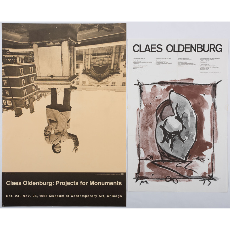 [FINE ART] -- [OLDENBURG, Claes (American, born in Sweden, 1929). A group of 2 exhibition posters, comprising:
