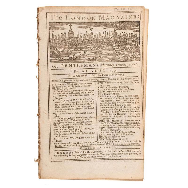 [FRENCH & INDIAN WAR - BATTLE OF JUMONVILLE GLEN]. The London Magazine: Or, Gentleman's Monthly Intelligencer. London: R. Baldwin, August 1754.