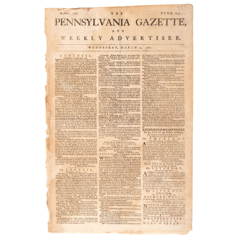[REVOLUTIONARY WAR]. The Pennsylvania Gazette, and Weekly Advertiser. No. 2648. Philadelphia: Hall & Sellers, 14 March 1781.