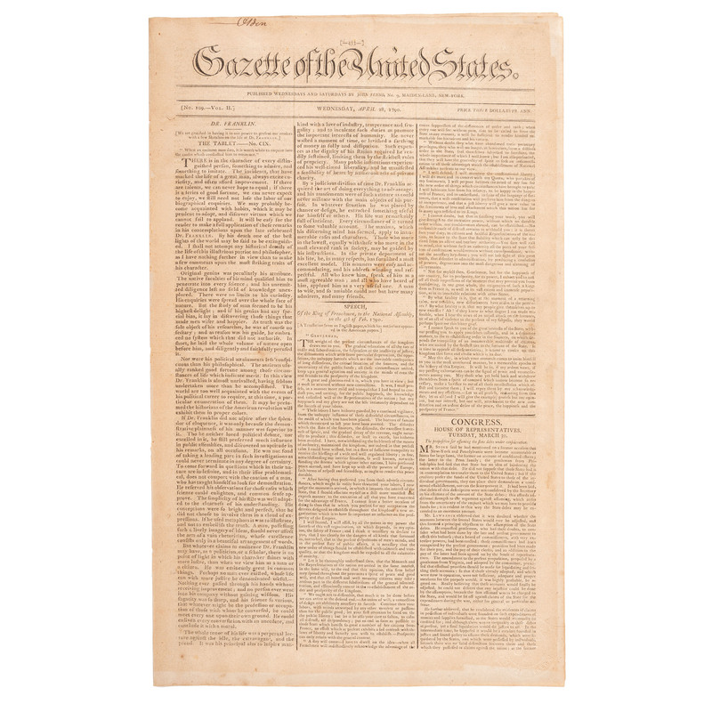 [FRANKLIN, Benjamin (1706-1790)]. Gazette of the United States. Vol. II, No. 109. New York: John Fenno, 28 April 1790.