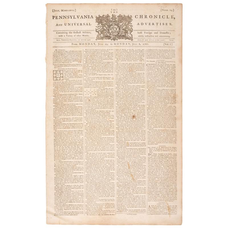 [FRANKLIN, Benjamin (1706-1790)]. The Pennsylvania Chronicle, and Universal Advertiser. Vol. I, No. 24.  Philadelphia: William Goddard, 29 June 1767 - 6 July 1767.