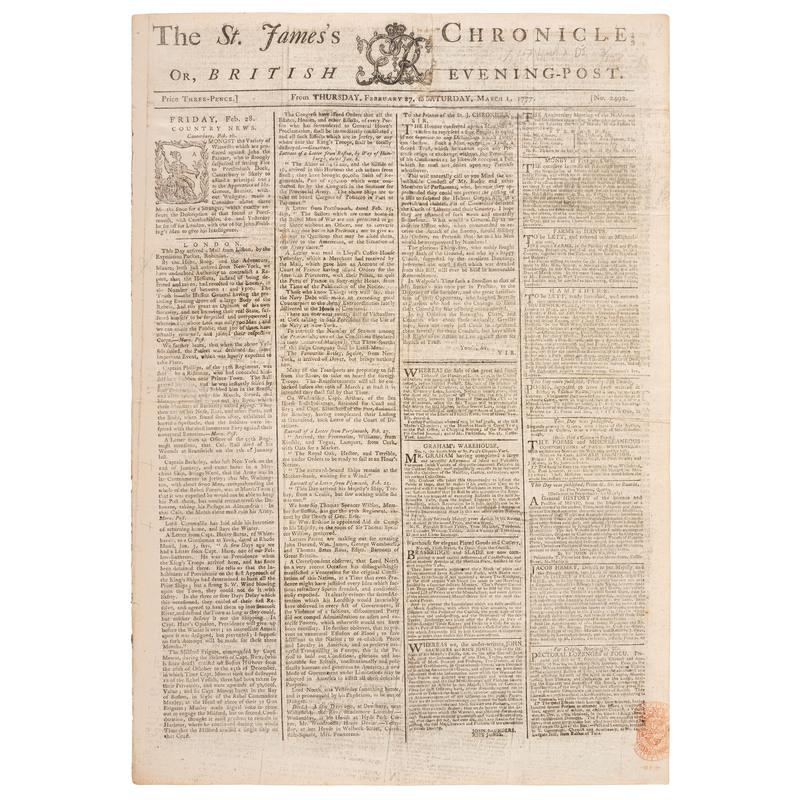 [REVOLUTIONARY WAR - BATTLES OF TRENTON & PRINCETON]. The St. James's Chronicle: British Evening-Post. No. 2492. London: H. Baldwin, 27 February 1777-1 March 1777.