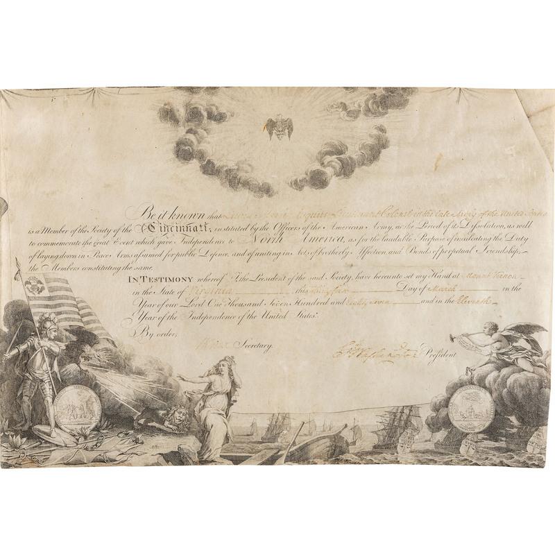 [WASHINGTON, George (1732-1799)]. Signed Society of the Cincinnati document.