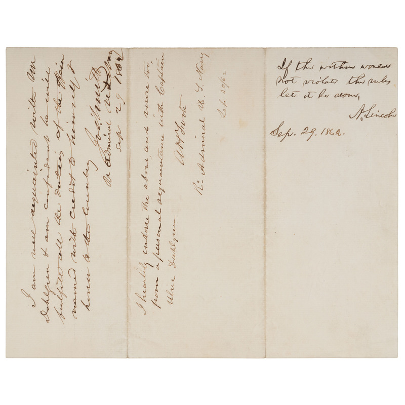 """LINCOLN, Abraham (1809-1865). Autograph endorsement signed (""""A. Lincoln""""), as President. [Washington], 29 September 1862. 1 page, 4to, old creases."""