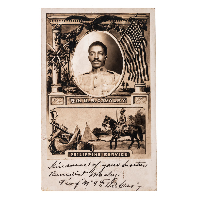 [AFRICAN AMERICANA] -- [BUFFALO SOLDIERS]. Real photo postcard of Benedict Mosley (1889-1966), Troop M, 9th US Cavalry. N.p., n.d.