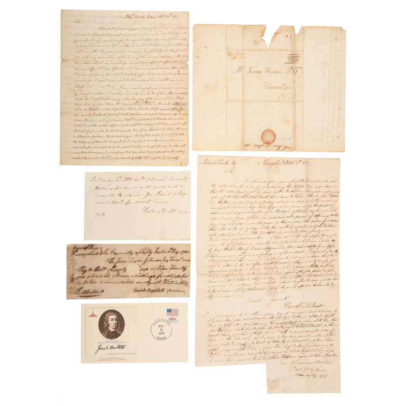 [FOUNDING FATHERS]. Collection of 14 autographs of signers of the Declaration of Independence and US Constitution.