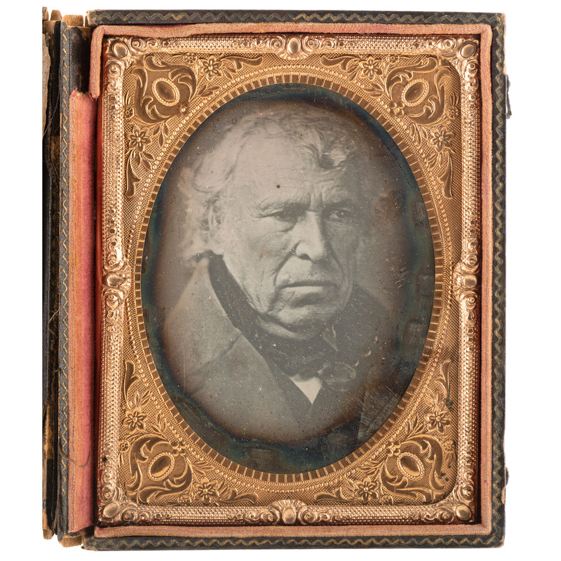 [TAYLOR, Zachary (1784-1850)]. Quarter plate daguerreotype featuring the 12th President of the United States. N.p.: n.p., [ca 1845].