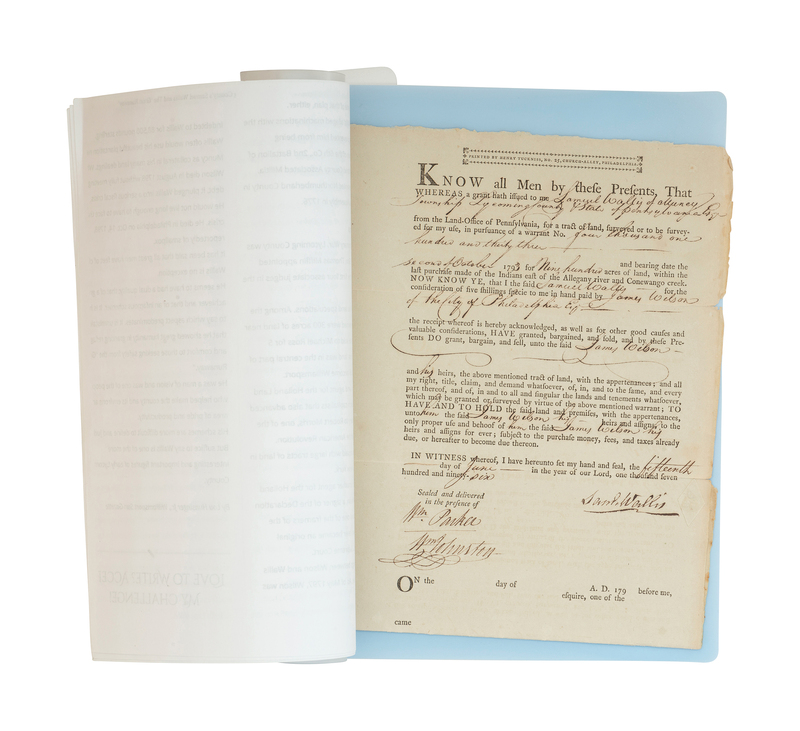 Signed 18th Century Document by Declaration of Independence Framer, James Wilson
