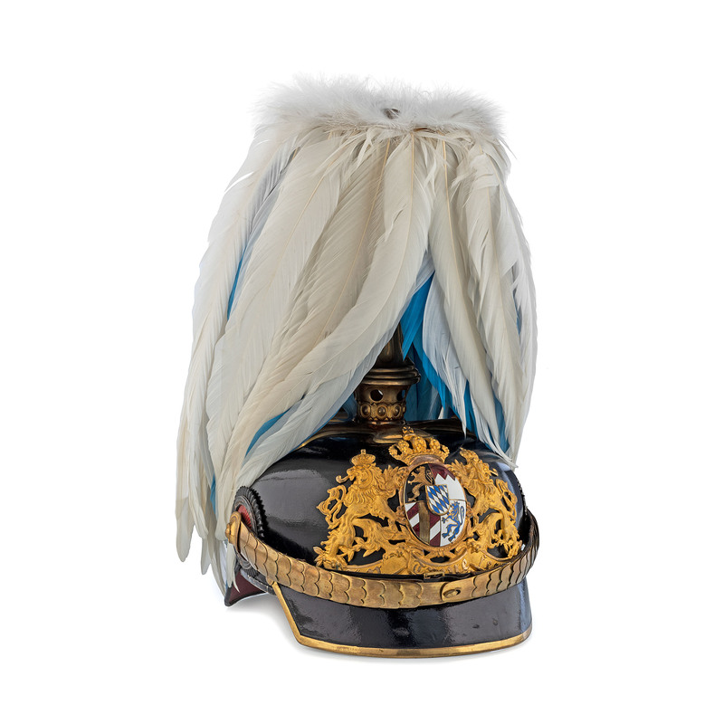 Bavarian General Medical Officer Helmet with Feather Plume