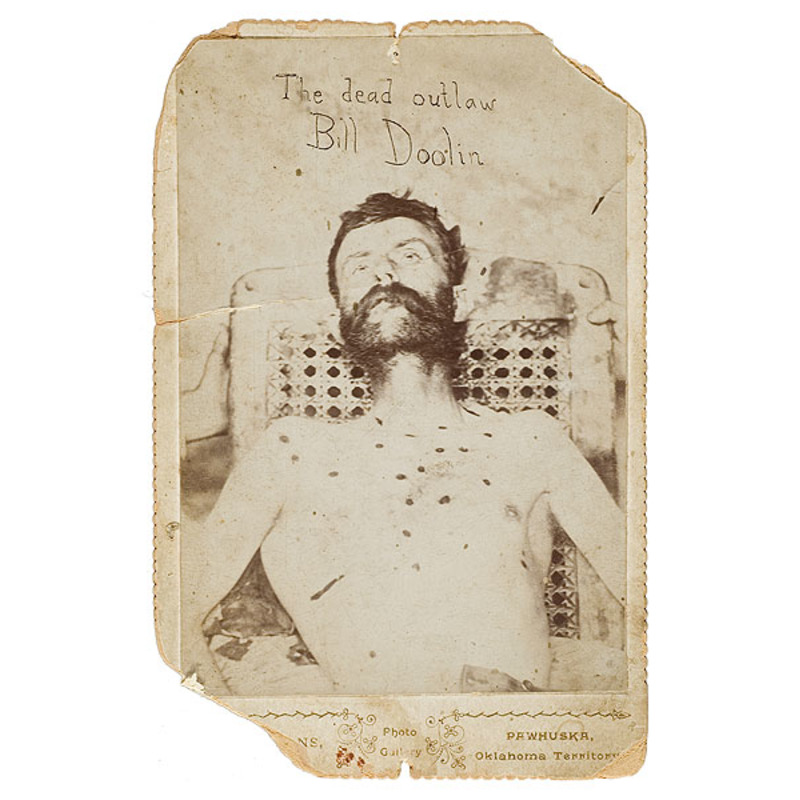 Cabinet Card Photograph of the Bullet-Riddled Outlaw Bill Doolin