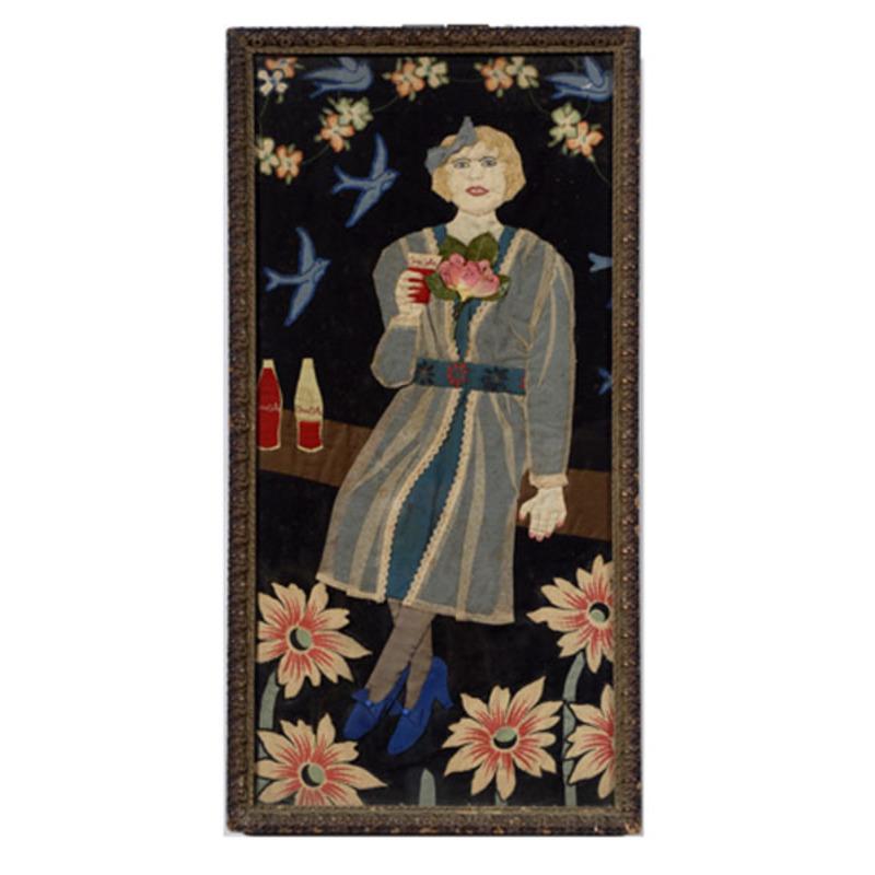 Folk Art Appliqued Coca-Cola Girl,