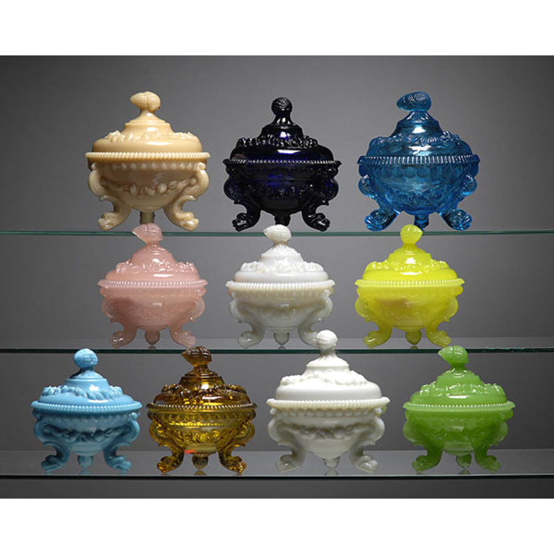 Ten Colored and Opaque Glass French Nautical Themed Covered Sugars,