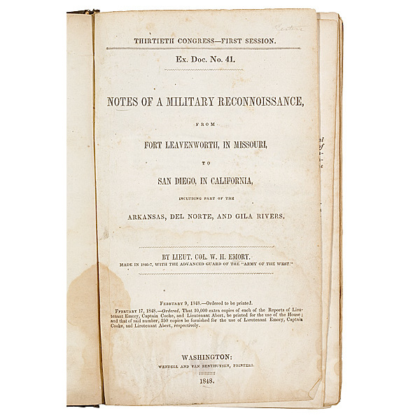 Emory, Lieut. Col. Albert, et. al. Notes of a Military Reconnaissance, from Fort Leavenworth,