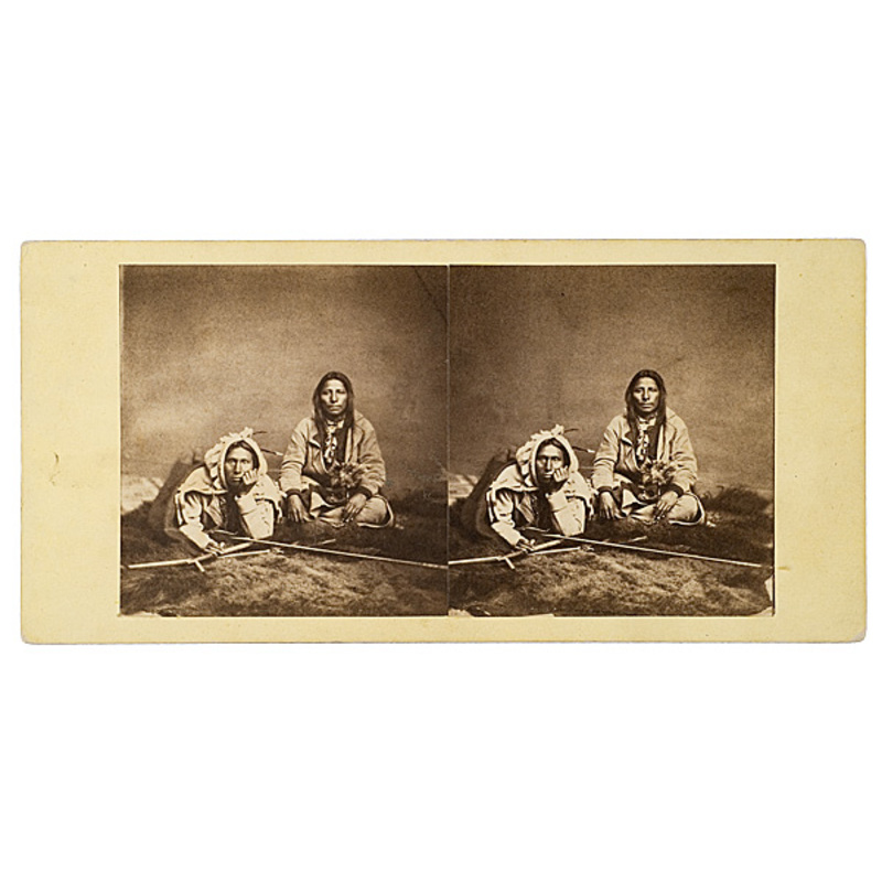 Fine Early Stereoview of Two Dakota Men,
