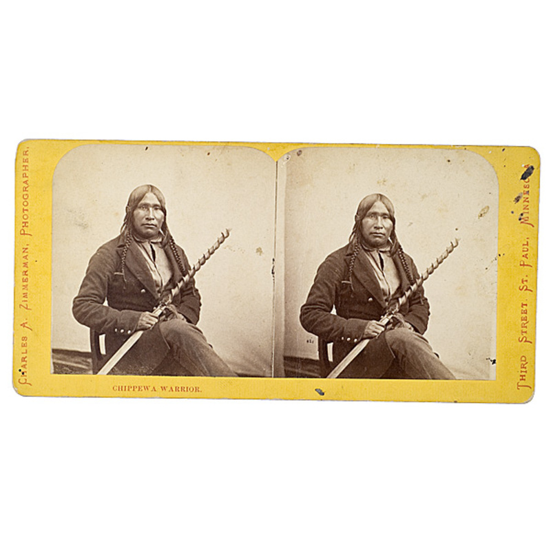 Charles A. Zimmerman Stereoview of Chippewa Warrior,