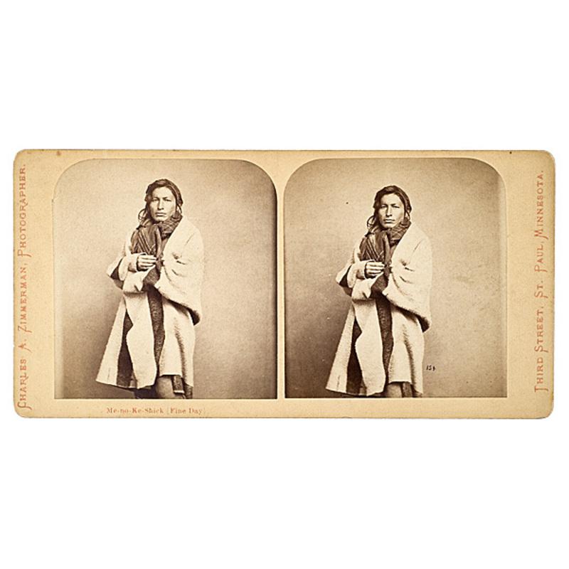 Charles A. Zimmerman Stereoview of Me-no-ke-shick (Fine Day), Chippewa,