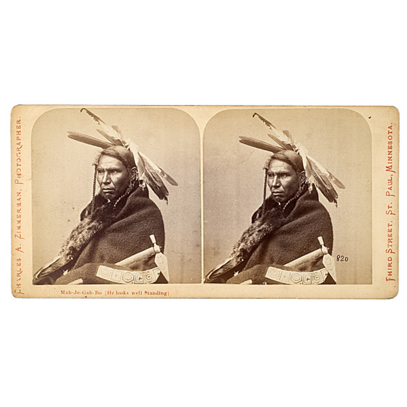Charles A. Zimmerman Stereoview of Mah-Je-Gah-Bo (He Looks Well Standing),