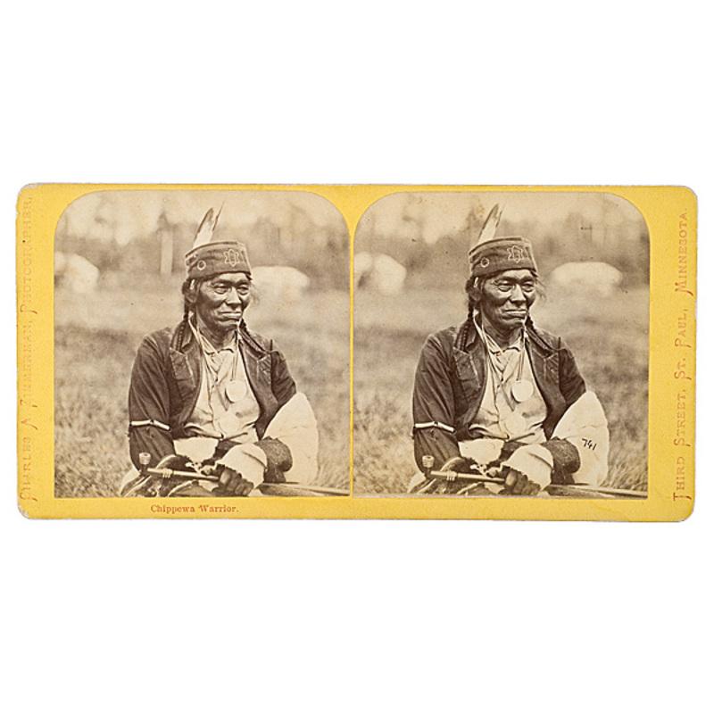 Charles A. Zimmerman Stereoview of a Chippewa Warrior,